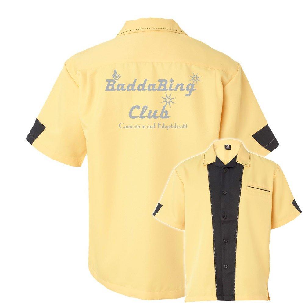 Badda Bing Club Stock Print on Cranker Bowling Shirt Gold