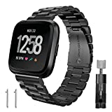 (US) Fitbit Versa Bands, Kmasic Stainless Steel Metal Replacement Bracelet Starp Band for Fitbit Versa Sports Smart Watch Fitness, Black