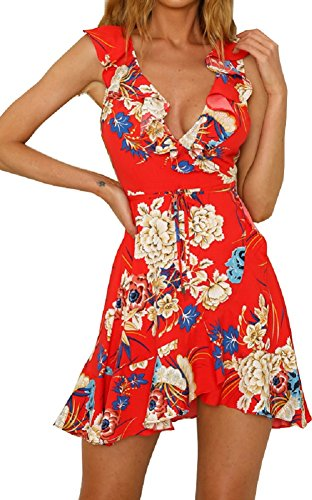 Colin Twain Women's Floral Print Sleeve Sexy Deep V-Neck Tunic Top Casual Mini Dresses Red Small