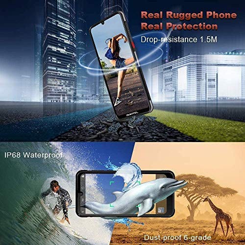 "OUKITEL Y1000 Rugged Smartphone, IP68 Waterproof Unlocked Cell Phones Android 9.0 Phones with Cool Case 6.1"" Dual Sim International Phone 32+2GB/128GB Expandable Face ID&Fingerprint Unlock 3600mAh"
