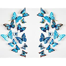 Romantiko 24 Pcs Fashion 3D Double Wings Butterfly Stickers Decor Decal Wall Stickers Art For Home and Room. (Blue)