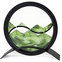 Desktop Mesmerizing Yin-Yang Motif Round Sand Picture, Green Color