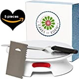 Smoothest Spinning 12 Inch Cake Turntable - Easiest Rotating Stand and Decorating Supplies Kit Complete w/Offset Spatula, 4 Side Icing Bench Scraper, Lifter Board a Perfect Frosting Baking Set (Red)