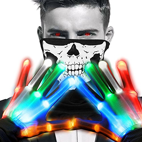 Halloween Custumes-Led Gloves&Seamless Skull Face Mask-Light Up Scary Skeleton (Skeleton Halloween Costume Face)