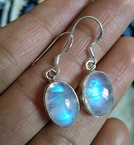 Rainbow Moonstone Earring, 925 Sterling Silver, Younger Like Jewelry, Bridesmaid Earrings, Mermaid Gift, Fine Jewelry, Jewelry For Her, Vintage Style, Gothic Earring, Engagement Earrings, Gift For Her