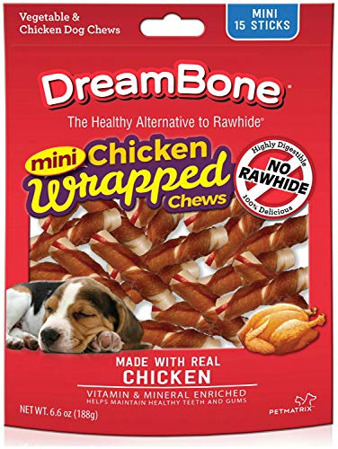 DreamBone Dog Chews Chicken Wrapped Sticks, Mini 15ct ()