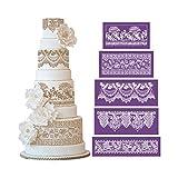 AK ART KITCHENWARE 4914cm 5PCS/SET Flower Mesh Stencil Set for Decorating Cake Purple Lace Moulds Baking Accessories Dining Bakeware Purple MST-56