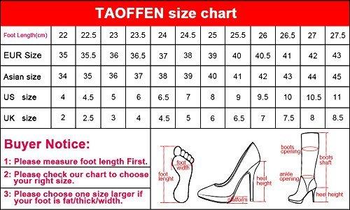 Fermeture Haut Talon Bottines avec TAOFFEN Mode Eclair Femmes Bottes WtqwI0