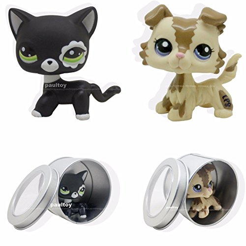 Kimsowa 2pcs #2249 #2210 Littlest Pet Shop Black Short Hair Cat Kitty Cream Collie Dog
