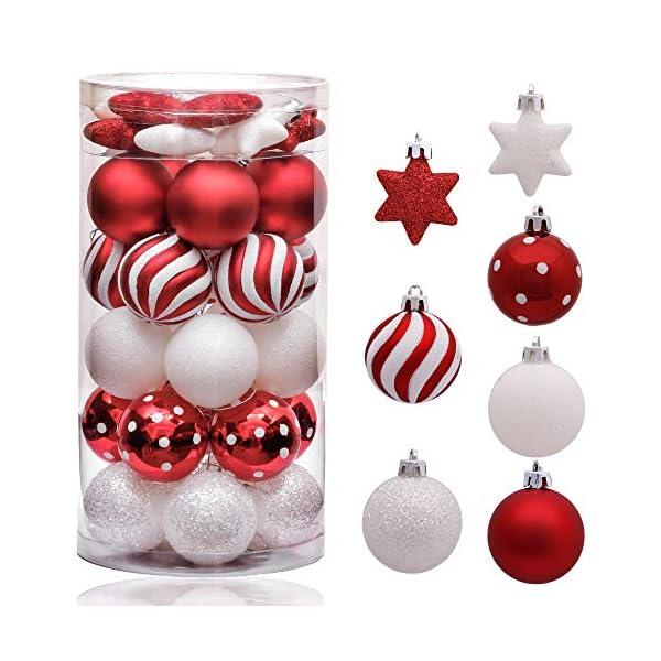 Victor's Workshop Addobbi Natalizi 35 Pezzi 5cm Palle di Natale, Oh Deer Red e White Shatterproof Christmas Ball Ornaments Decoration for Christmas Tree Decor 1 spesavip