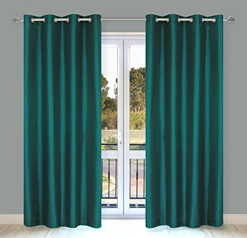 LJ Home Fashions Silkana Faux Silk Grommet Curtain Panels (Set Of 2)  56x88 In, Teal Green