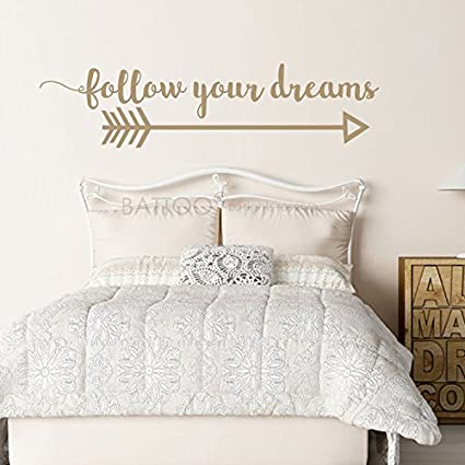 BATTOO Arrow Wall Decal  Follow Your Dreams Wall Decal Quote  Boho Bedroom  Decor