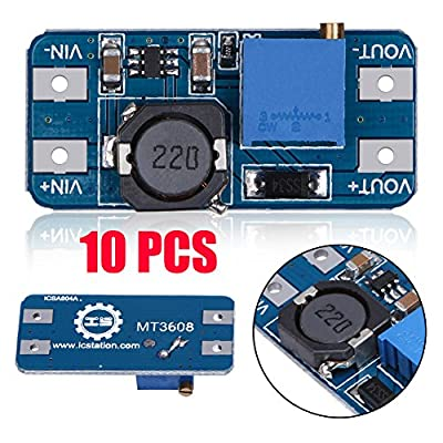 Module, 10Pcs MT3608 2A DC-DC Step Up Power Apply Booster Power Module for Arduino by LiChiLan