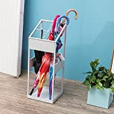 Umbrella Stands WSSF- Iron With 4 Hooks/Drip Tray Commercial Umbrella Bucket Household Hallway Hotel Lobby Long/Short Umbrella Rack Storage Holder,222260cm (Color : White)