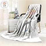Microfiber Fleece Comfy All Season Super Soft Cozy Blanket cute girl with cat cute cat illustration for apparel book illustration for Bed Couch and Gift Blankets(90''x 70'')