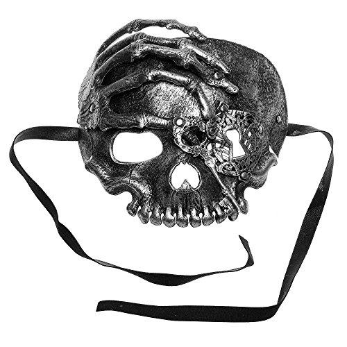 ILOVEMASKS Halloween Skull With Key Venetian Masquerade Half Face Mask - (Half Face Halloween Skull)