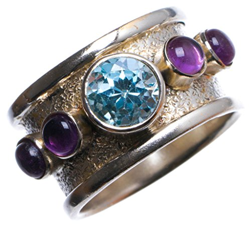 StarGems(tm) Natural Blue Topaz and Amethyst Handmade Unique 925 Sterling Silver Ring, US size 7.75 X2406 (Italian Tm Ladies Stone)