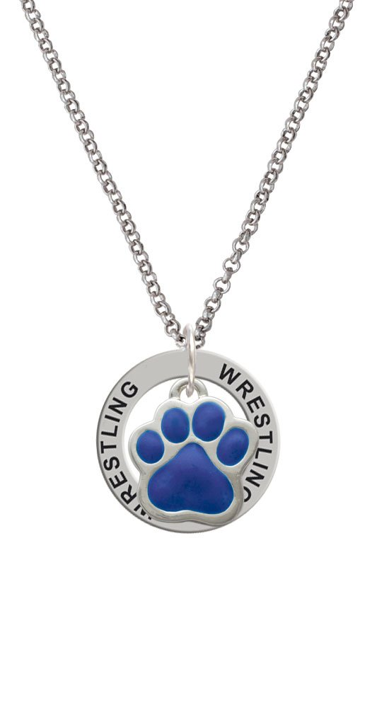 Large Royal Blue Paw - Wrestling Affirmation Ring Necklace