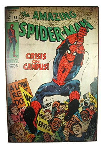 """Silver Buffalo The Amazing Spider-Man Vintage Look """"Crisis on Campus"""" Wood Wall Art 19"""" x 13"""""""