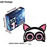 YRD Tech Foldable Flashing Glowing Cat Ear Headphones Wired Video Gaming Headset HiFi Stereo Mp3 Music Player Walkman Earphone (A)