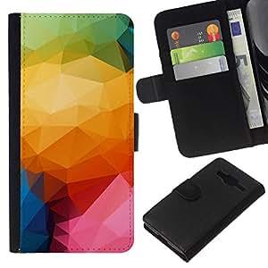 All Phone Most Case / Oferta Especial Cáscara Funda de cuero Monedero Cubierta de proteccion Caso / Wallet Case for Samsung Galaxy Core Prime // Polygon Color Pattern