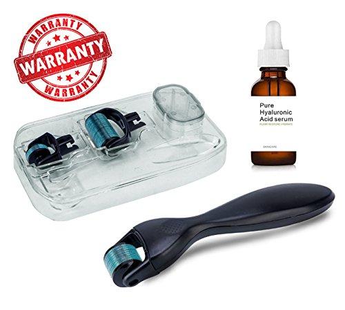 Anti Ageing Derma Roller Kit 4 in 1 Face Skin Care Micro Titanium Needles +Hyaluronic Acid Serum Moisturizing Hyaluronic Acid Vitamins moisturizing Essence
