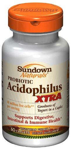 Sundown Naturals Acidophilus, XTRA Probiotic Formula, Caplets 60 Ea (3 Pack) Total 180 - Acidophilus Probiotic Formula