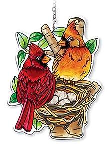 AMIA - Cardinal - Nested Birds Water Cut Suncatcher