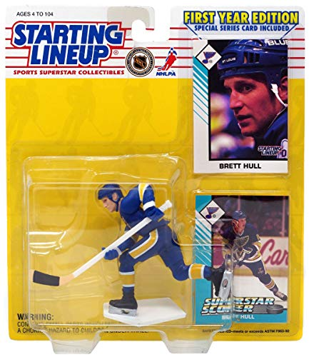 Starting Lineup 1993 - Kenner / NHL Brett Hull / St. Louis Blues Figure - First Year Edition - w/ 2 Trading Cards - MOC - Collectible