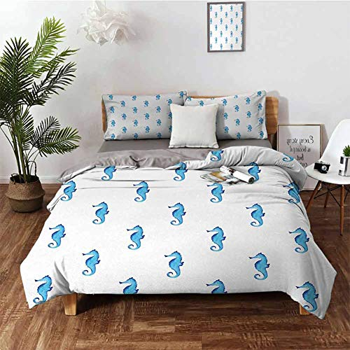 DRAGON VINES Bed Sheets Set Animal Bassinet Sheets Unusual Equine Shaped Fish Motif in Simple Featured Backdrop Cottage Cabin W68 xL85 Turquoise White