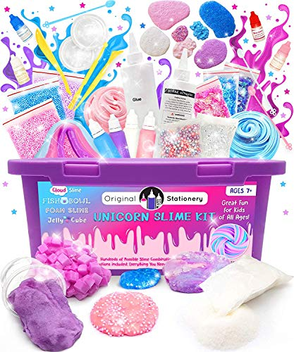 Original Stationery Unicorn Slime Kit Supplies Stuff for Girls Making Slime [Everything in One Box] Kids Can Make Unicorn, Glitter, Fluffy Cloud, Floam Putty,