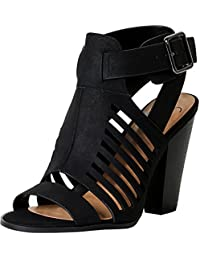 Delicious Yummy Cutout Stacked Heel Sandal