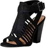 Delicious By Soda Yummy Cutout Stacked Heel Sandal,black,9 | amazon.com