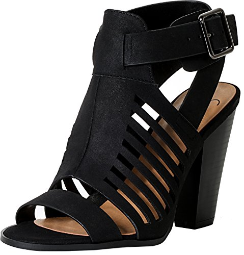 SODA Delicious Yummy Cutout Stacked Heel Sandal,Black,7.5