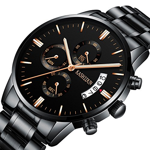 (KASHIDUN Men's Watches Luxury Sports Casual Quartz Wristwatches Waterproof Chronograph Calendar Date Stainless Steel Band Black Color Rose Gold Hands TL-QHMD)
