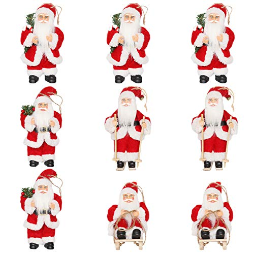 CHENGMON Christmas Santa Claus Ornaments Decorations for Tree Hanging Figurines Collection Traditional Holding Home Decors Set of 9 Pcs Assortment Pack 6