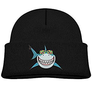 MingDe YY Shark With Colored Sunglasses Child Warm Knitted Beanie Cap Wool Cotton Cap Skull Hat
