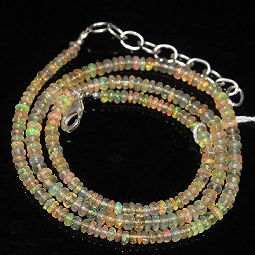 Beads Bazar Natural Beautiful jewellery Ethiopian Welo Fire Opal Smooth Rondelle Micro Gemstone Craft Loose Beads Necklace 17