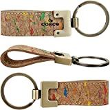 CORCO Eco Friendly Natural Cork Leather Elegant Key chains for Vegan Mens, Women Rainbow