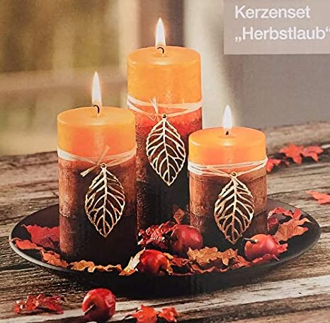 Kerzen Dekoration.Unbekannt Kerzenset Herbstlaub Afrika Design 3 Kerzen Kerzenteller Dekoration Herbst Neu