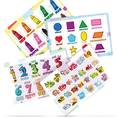 Educational Placemats for Kids - Set of 4 Flexible Non Slip Placemats Protect Your Table - Easy to Clean Placemats Allow Kids to Learn While They Eat
