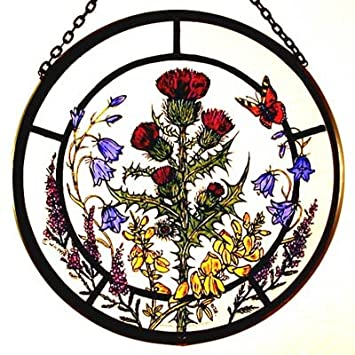 Decorative Hand Painted Stained Glass Window Sun Catcher Roundel In A Scottish Flowers Design