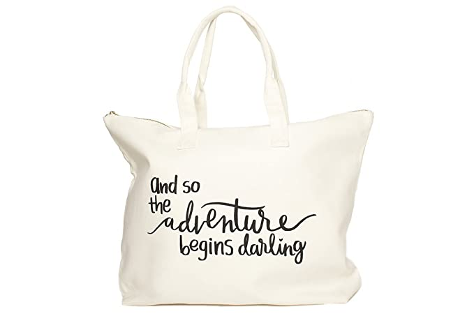 Amazon.com  Canvas Tote Bag with Special Saying - Zipper Top ... 0e85835df73b1