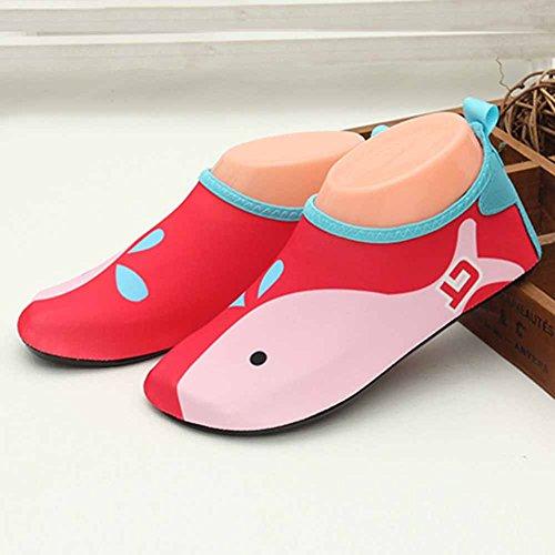 Vine Zapatos de piel al aire libre respirable antideslizante de Aqua Agua de bebé unisex del cabrito por Playa Con Surf Yoga Natación, 21.5cm Red whale