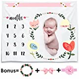 Monthly Baby Milestone Blanket Photo Props Shoots Backdrop for Newborn Boy Girl (Headband Frame Included),Reusable personalized Infant Baby Swaddling Blanket for Photography, New Mom Baby Shower Gifts
