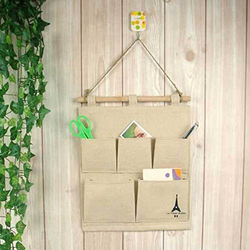 LUQUAN Cotton Tower Storage 5 Pocket Bags Hanging Wall Debris Multilayer Fabric Pouch