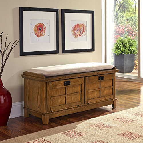 Oak Bench - Home Styles Arts and Crafts Cottage Oak Upholstered Bench