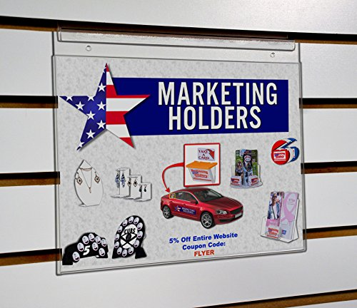 Marketing Holders - 11''w x 8.5''h Slatwall Clear Wall Mount Ad Frame Sign Holder by Marketing Holders