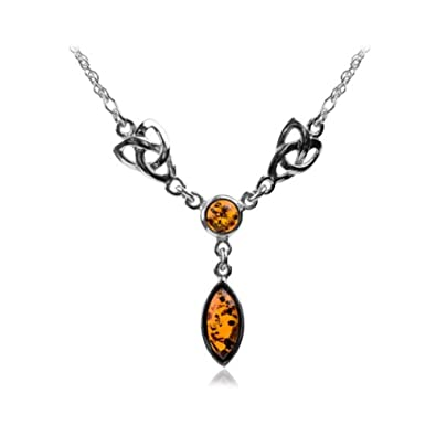 Amber Sterling Silver Celtic Love Knots Necklace 46cm s4m6R