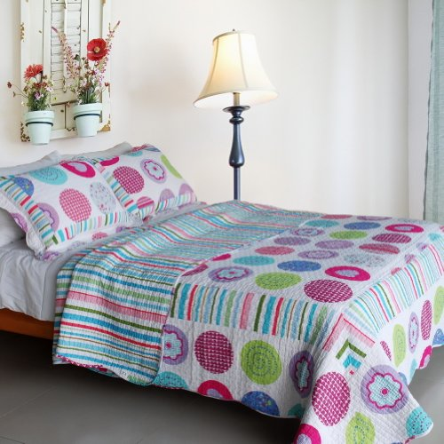 Bubble Cotton Bed ([Tropical Bubbles] Cotton 3PC Vermicelli-Quilted Printed Quilt Set (Full/Queen)